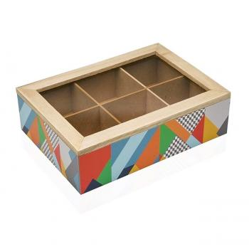 Holz-Teebeutelbox, farbenfrohes Muster, bunt, 17 x 7 x 24cm