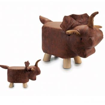 Hocker in Tierform Stier, Leder-Optik, braun, 35 x 36 x 68cm